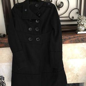 Black wool blended coat